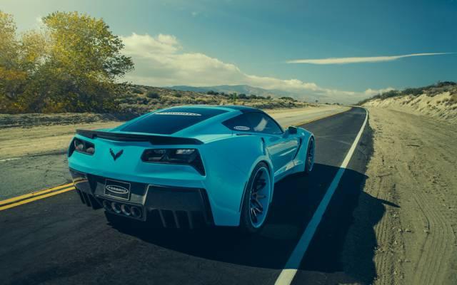 汽车,后方,Forgatio,克尔维特,雪佛兰,蓝色,黄貂鱼