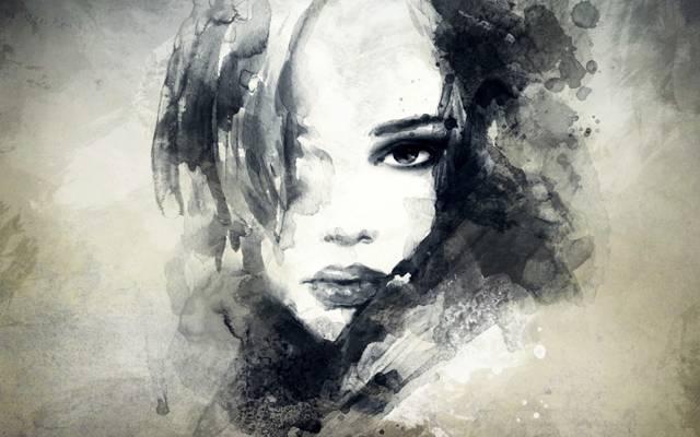 肖像,看,女孩,嘴唇,艺术,绘画,脸
