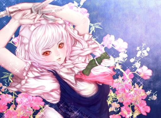 花,武器,艺术,弓,动漫,东方,女孩,辫子,刀,izayoi sakuya,杏