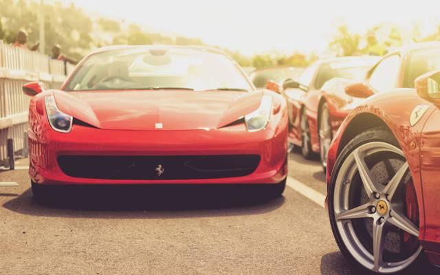红色,红色,法拉利,汽车,汽车,法拉利,跑车