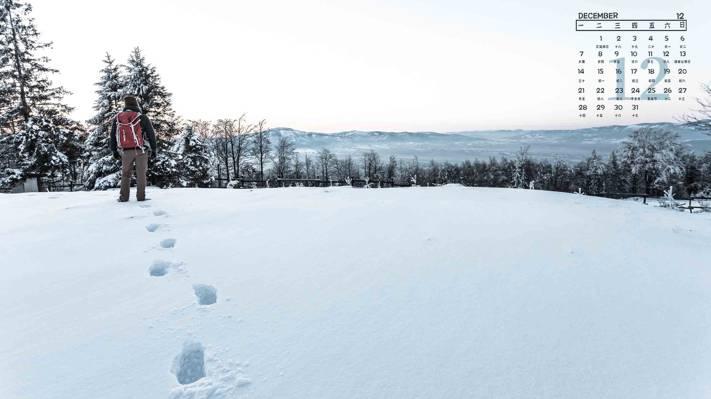 2020年12月冬天雪地日历