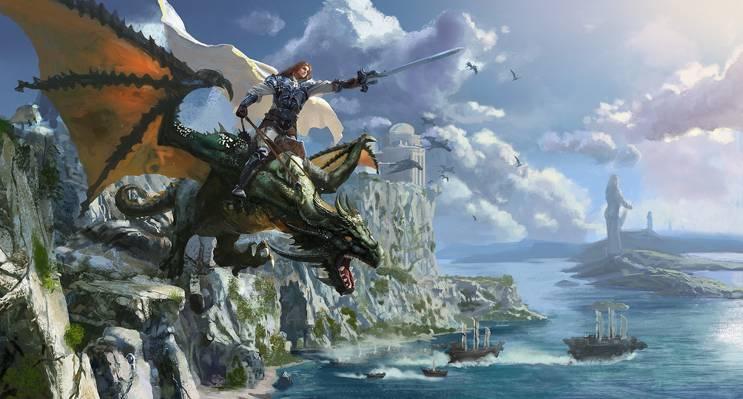 船,斗篷,艺术,战士,骑手,城堡,海,龙,剑,岩石