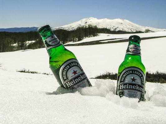 两个喜力啤酒瓶上白色的雪高清壁纸