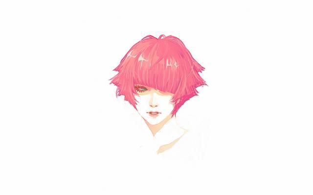 肖像,红色,头,女孩,短发