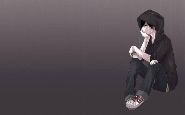 悲伤,动漫,无聊,家伙,悲伤,雨,艺术