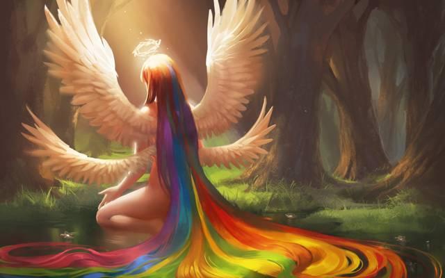 鲜花,彩虹,翅膀,艺术,回,天使,坐,光环,头发,水,女孩,sakimichan,池塘,森林