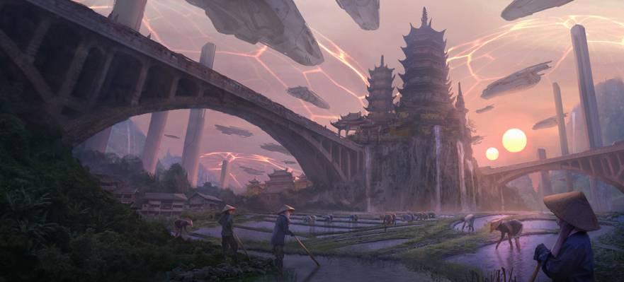 帝国,艺术,城堡,中国,幻想,小说,日落,飞船