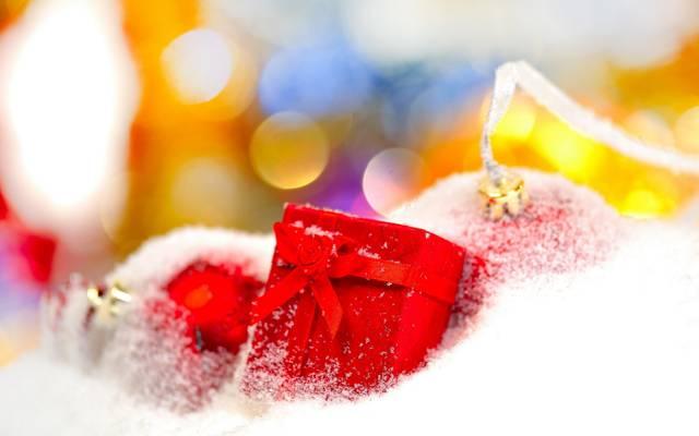 节日,雪,壁纸,新的一年,礼物。