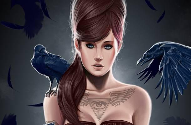 三角形,羽毛,翅膀,眼睛,艺术,发型,鸟,乌鸦,女孩,纹身