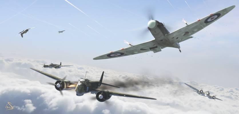 航空,攻击,第二次世界大战,英国,飞机,混战