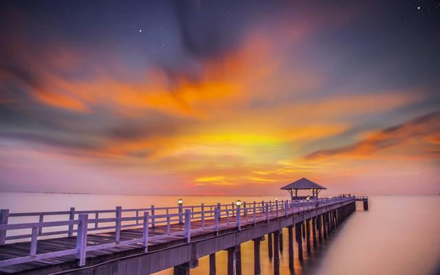 桥,沙滩,泰国,树木繁茂的桥梁,海湾