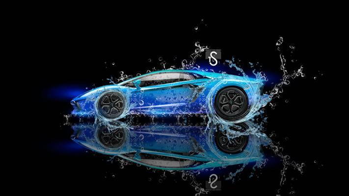 托尼Kokhan,水,黑色,设计,蓝色,蓝色,埃尔托尼汽车,兰博基尼,Photoshop,水,霓虹灯,背景,...