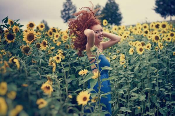 红色,微笑,头发,红发,心情,女孩,卷发,领域,向日葵