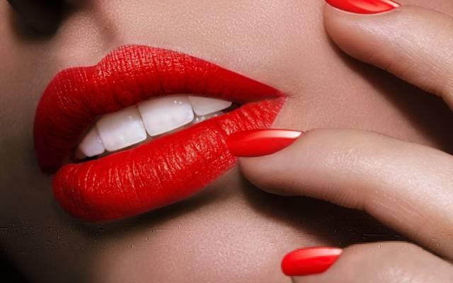 手指,修指甲,口红,脸,女孩,嘴唇,牙齿,嘴里,指甲