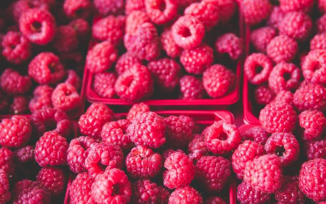浆果,覆盆子,很多