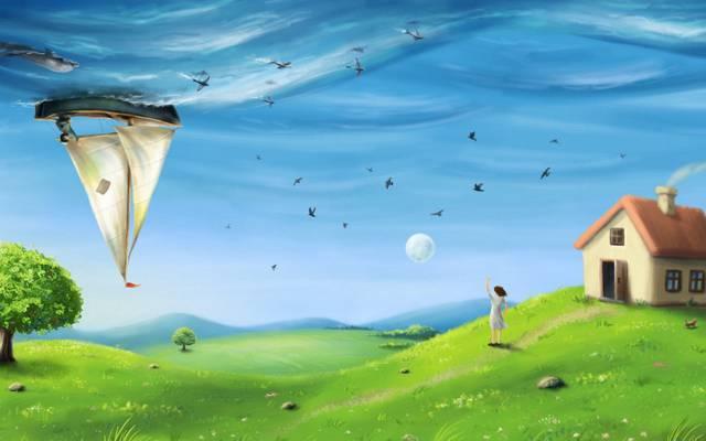 超现实主义,船舶,艺术,海,鸟,树,女孩,田地,丘陵,海豚,帆船,鱼,月亮,房子,...