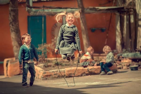 跳绳,儿童,男孩,童年,女孩