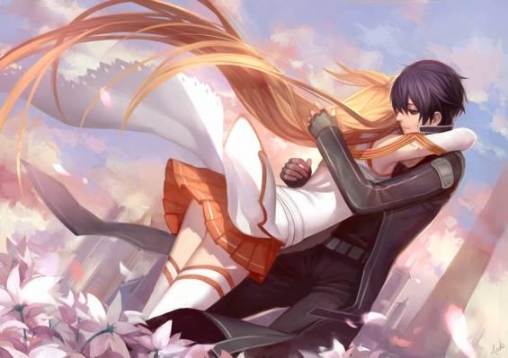 鲜花,艺术,家伙,城市,asukaziye,头发,女孩,剑艺在线,yuuki asuna,桐人,拥抱