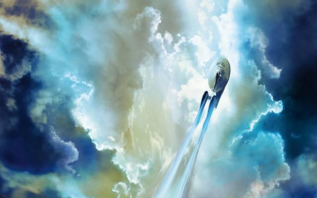 云,小说,天空,星际迷航,星际迷航,企业,飞行,NCC 1701,Starship,航天器,飞船