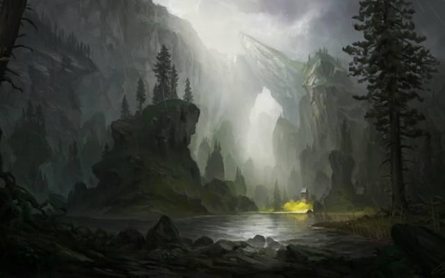 画风景,雨,岩石,河流,艺术