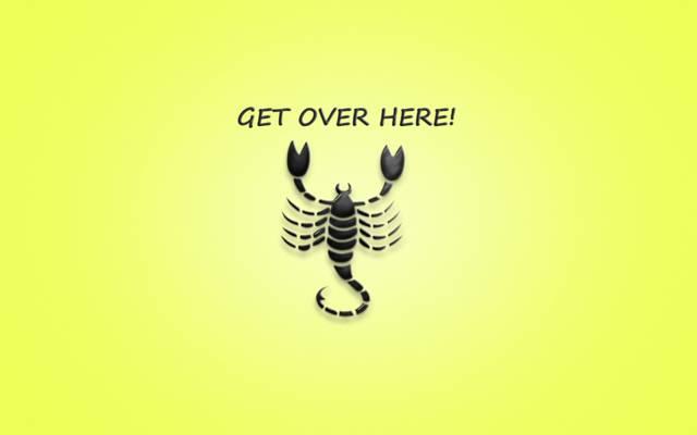 极简主义,天蝎座,这句话,过来这里,蝎子,真人快打,黄色背景,题字