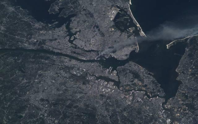 曼哈顿,纽约,纽约,烟,国际空间站,购物中心,2001年9月11日,袭击,曼哈顿