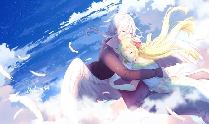 女孩,两个,天空,艺术,家伙,天使,浪漫,lluluchwan,拥抱