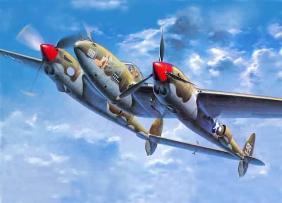图,澎湃(闪电),P-38,P-38J,情报,闪电,停止发动机飞行,(美国空军),美国,...