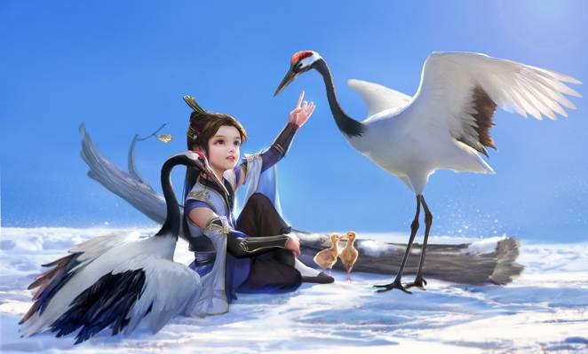 女孩,树,鸟,雪,艺术,小鸡,hao6578300