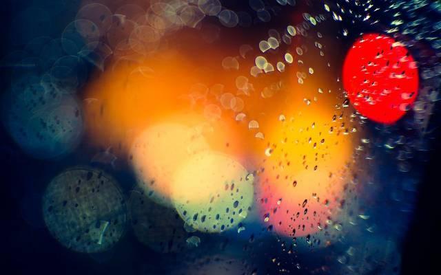 壁纸散景,宏,光,晚上,眩光,城市,雨