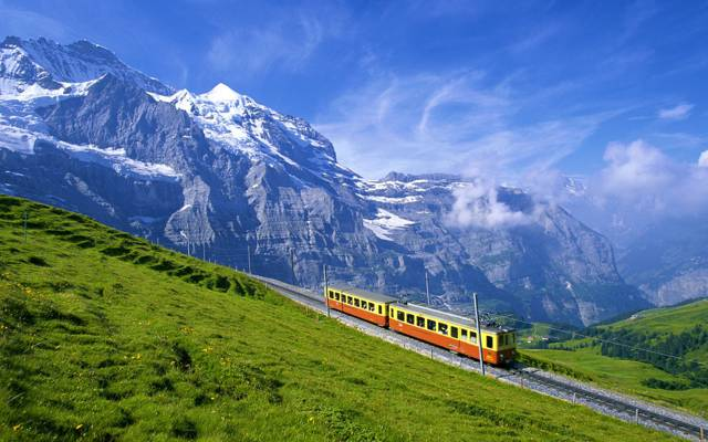阿尔卑斯山,车,山,铁路