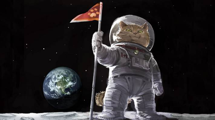 国旗,图片,艺术,绘画,绘画,地球,西装,太空,登陆月球,雄猫,猫