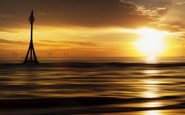 海,风格,日落