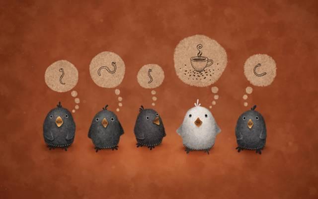 蠕虫,杯子,茶,蠕虫,背景,咖啡,鸟,思想,白色的乌鸦,vladstudio