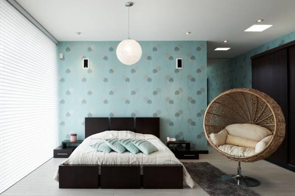 壁纸床,房间,饰品,家具