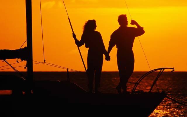 海,对,游艇,浪漫,爱,日落