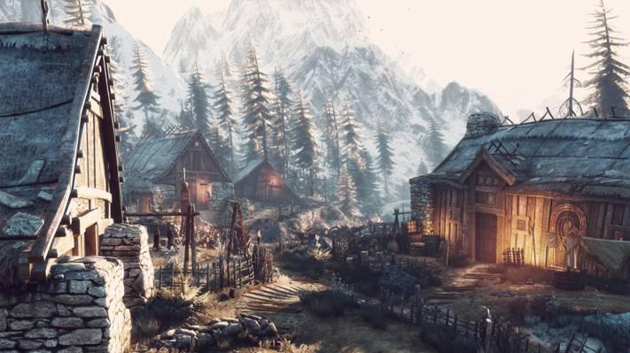 巫师3,冬季逍遥游,山,村庄,巫师