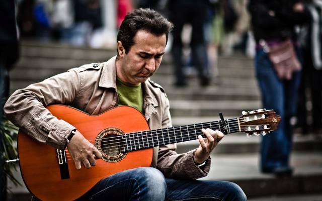 街,吉他,人