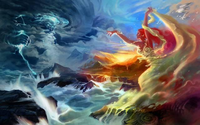 闪电,山脉,艺术,风暴,海洋,战斗,女孩,建国,众神,海鸥