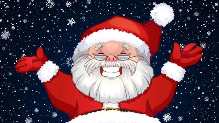 微笑,脸,圣诞老人,圣诞老人,圣诞老人,服装,爷爷,雪花,圣诞老人,背景,克劳斯,...