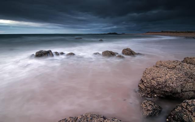 云,岸,海,英国,晚上,苏格兰,天空,石头