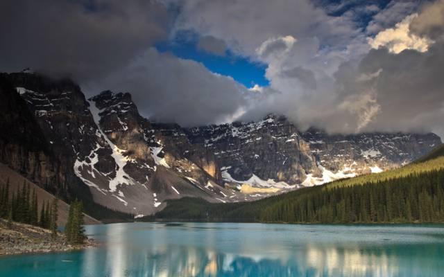 加拿大,山,碧水,森林,天空,河流,云彩