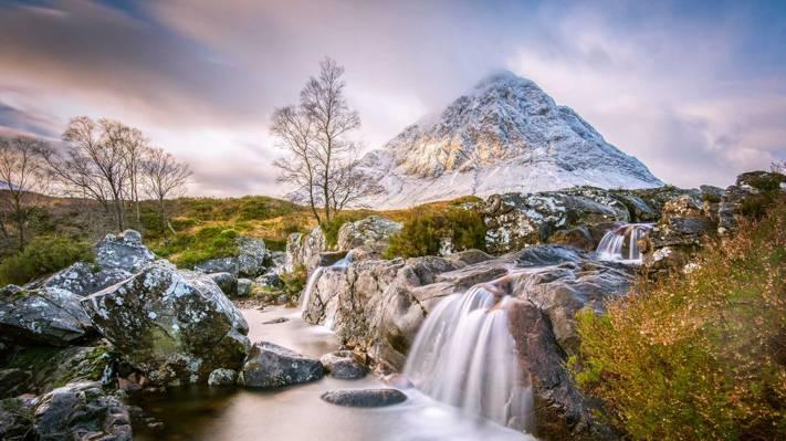 壁纸山,苏格兰,流,Buachaille Etive莫尔,河,石头