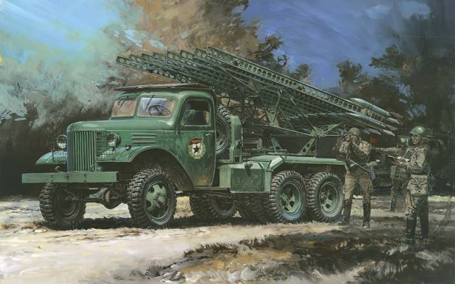 艺术,WW2,战斗,夜间,齐射,BM-13,喷气,喀秋莎,苏维埃,笔画,期间,机器,图,训练,火炮
