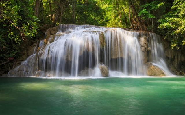 瀑布,树木,水,绿色,森林