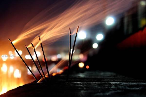 晚上,灯,烟雾,散景,风,烟花,蜡烛,宏