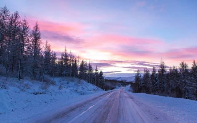 路,景观,日落