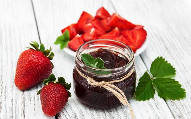 草莓,果酱,甜点,银行,食品,草莓