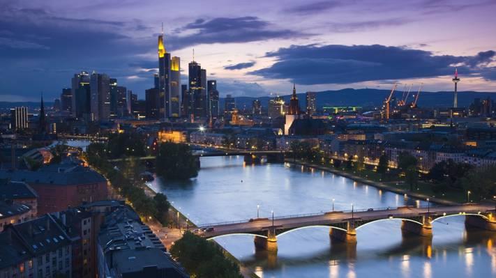 树木,法兰克福,桥梁,街道,家,城市,摩天大楼,晚上,河流