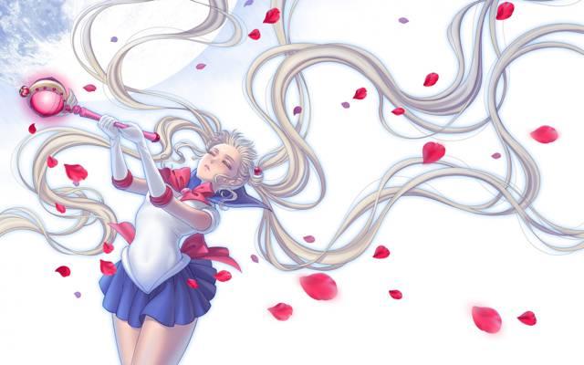 水手月亮,Bishoujo senshi水手月亮,月亮,形式,花瓣,女孩,棒,Tsukino Usagi